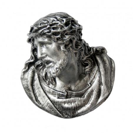 Marvanyporbol keszult Aplikacio Krisztus 12 x 11.5 cm Ezust szinu