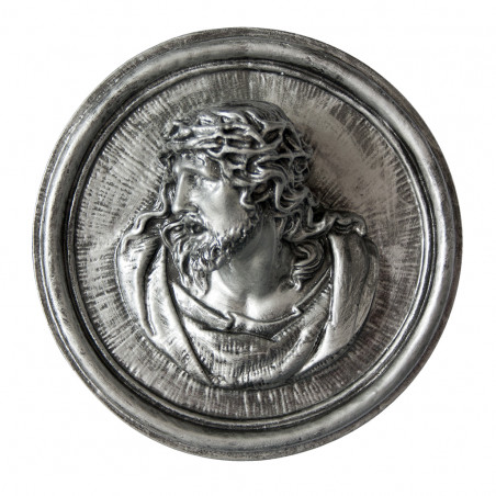 Marvanyporbol keszult Aplikacio Krisztus 18 x 7 cm ezust szinu