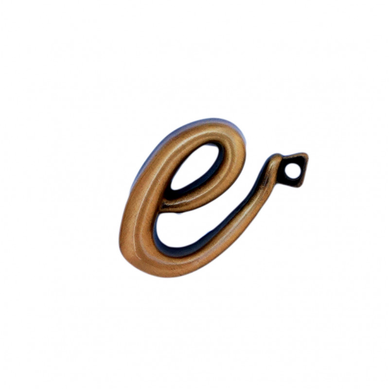 Litera Bronz E Cursiv Espresso 3 cm cu prindere