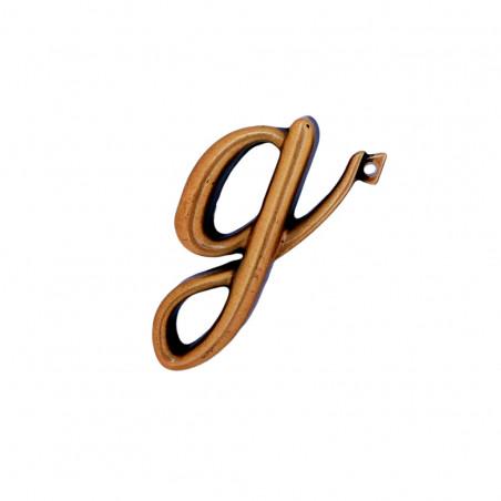 Litera Bronz G Cursiv Espresso 3 cm cu prindere