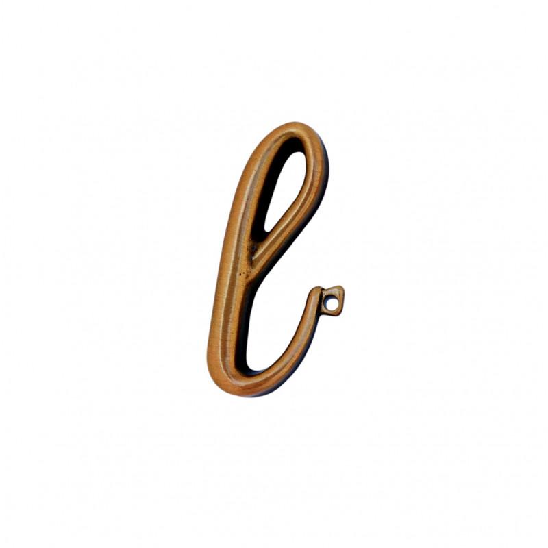 Litera Bronz L Cursiv Espresso 3 cm cu prindere