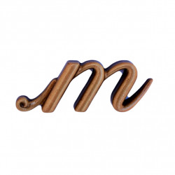 Litera Bronz M Initiala Cursiv Espresso 3 cm fara prindere