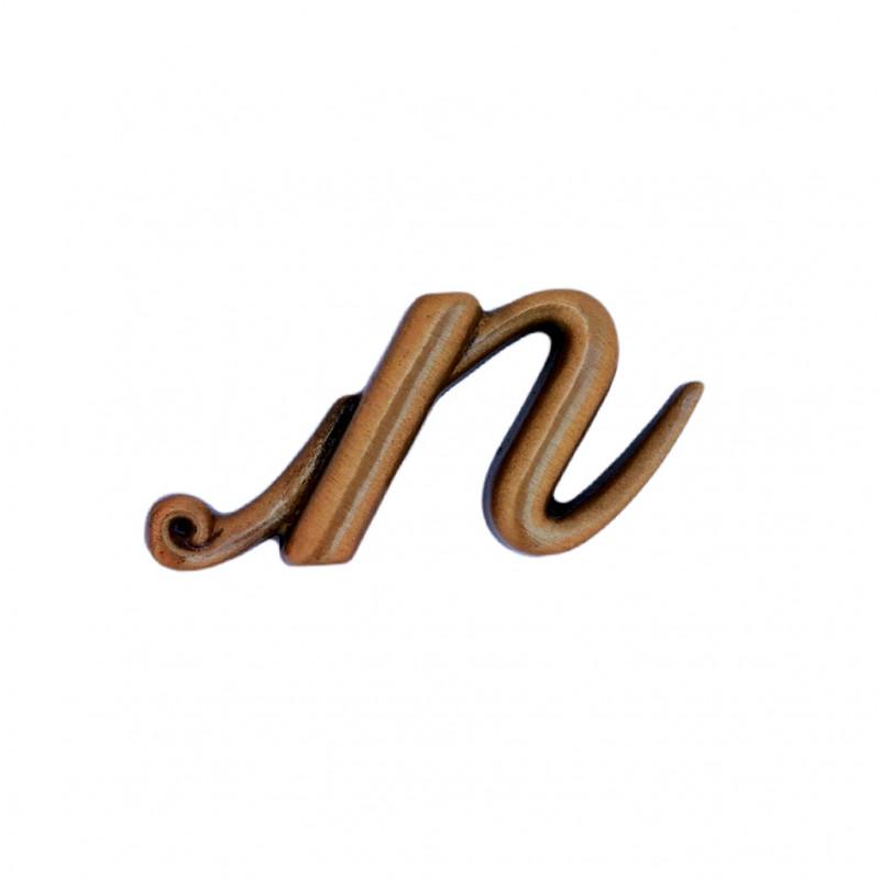 Litera Bronz N Initiala Cursiv Espresso 3 cm fara prindere