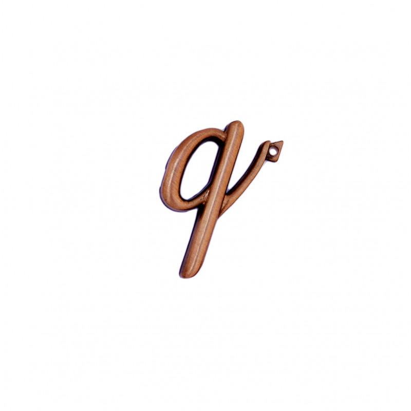 Litera Bronz Q Cursiv Espresso 3 cm cu prindere