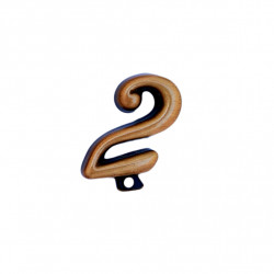 Cifra Bronz 2 Cursiv Espresso cu prindere 3cm