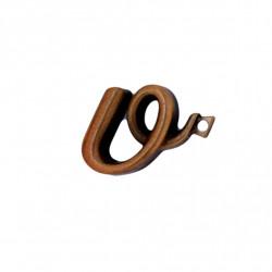 Litera Bronz V Cursiv Espresso 3 cm cu prindere