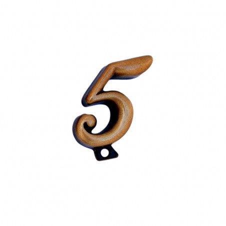 Cifra Bronz 5 Cursiv Espresso cu prindere 3cm