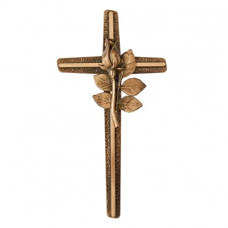Felfoghato bronzotvozet kereszt Viragdisszel m 30 cm sz 15 cm
